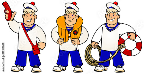 Photo Cartoon young sailor. Rescue work on the water. A set of images.