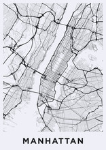 Light Manhattan (New York) Map...