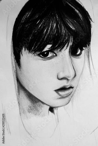 Fotografia  Korean boy black and white portrait