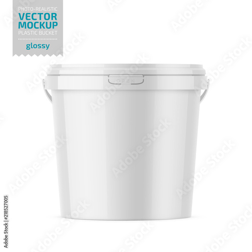 White glossy plastic bucket mockup with label. Wall mural