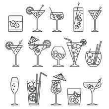 Cocktails Set Related Icons: T...