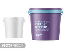 White Matte Plastic Bucket With Lid Mockup.