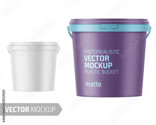White matte plastic bucket with lid mockup. Wall mural