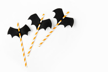 Striped Straws With Paper Bats...