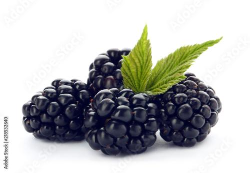 Fresh ripe juicy blackberries on white background