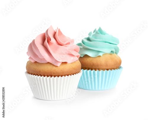 Photo  Delicious birthday cupcakes on white background