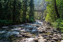 Lostine River Flowing Below Pole Bridge At The Eagle Cap Wilderness Of Wallowa-Whitman National Forest