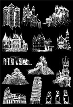 Graphical Set Of Sightseeing Isolated On Black, Famous Buildings Of The World,vector Sketch