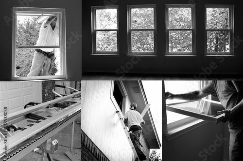 Black And White Construction Collage Of Installing New Windows In Old House Renovation Contest