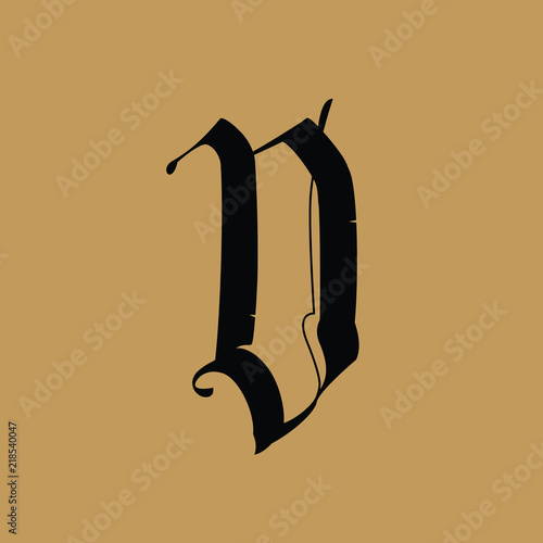 Letter D, in the Gothic style  Vector  Alphabet  The symbol