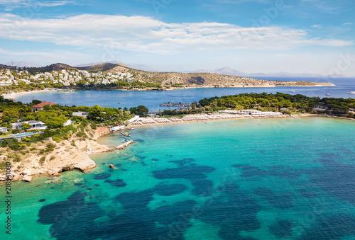 Luftaufnahme des berühmten Celebrity Astir Beach in Vouliagmeni, Athen, Griechen Canvas Print