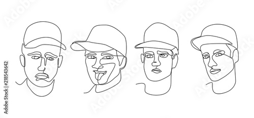 b794cfeb3f5 Continuous Line Man Portrait Facial Expression. One Line Art Male Faces.  Hand Drawn Silhouette