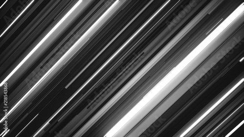 Canvas Print Lots of digital glowing diagonal lines with different lengths and thicknesses and small particles