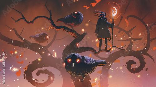 Obraz na płótnie wizard of the black birds standing on an odd trees, digital art style, illustrat