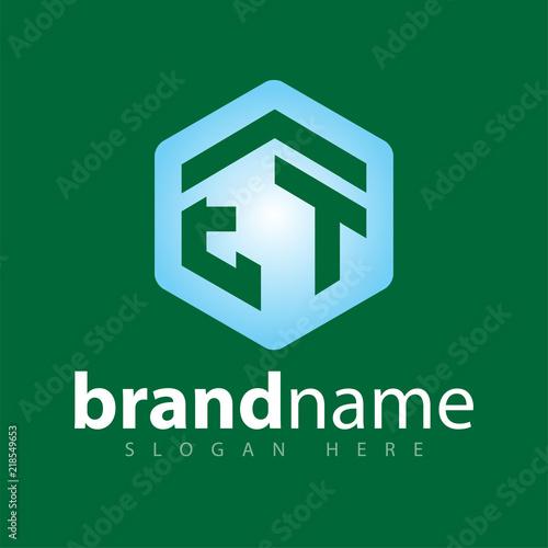Photo  ET Initial letter hexagonal logo vector