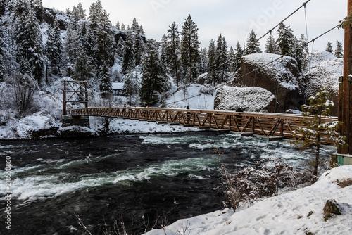 Swinging Bridge at Riverside State Park. Washington, State Fototapeta