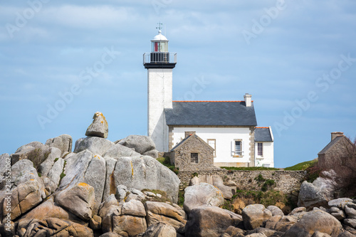 Foto op Aluminium Vuurtoren Pontusval lighthouse, Bretagne (Brittany), France