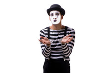Mime With Handcuffs Isolated On White Background
