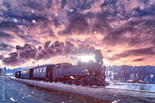 Photo Mocanita,the steam train from Bucovina travel in winter time