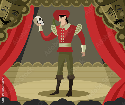actor in theater with skull Canvas Print