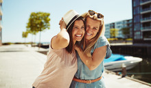 Laughing Young Girlfriends Hav...