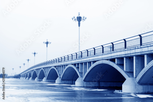 Valokuva  bridge landscape in winter