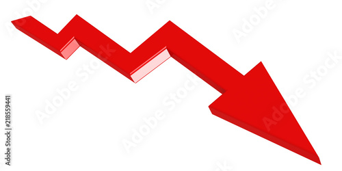 Photo Red arrow downward isolated