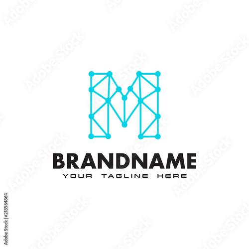 Photo Letter M dot network connection logo Design Template