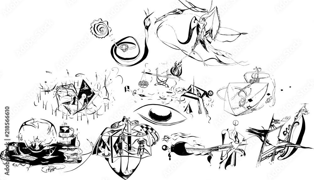抽象画のシルエット