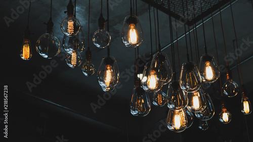 Photo  Beautiful vintage luxury light bulb hanging decor glowing in dark