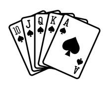 Spade Royal Straight Flush Poker Hand Flat Vector Icon For Casino Apps And Websites