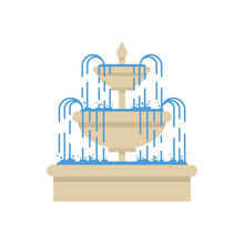 Fountain On Isolated White Background. Vector Illustration