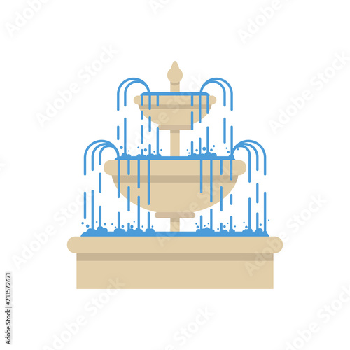Fountain on isolated white background. Vector illustration Canvas Print