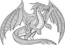 Coloring Book Page With Dragon...