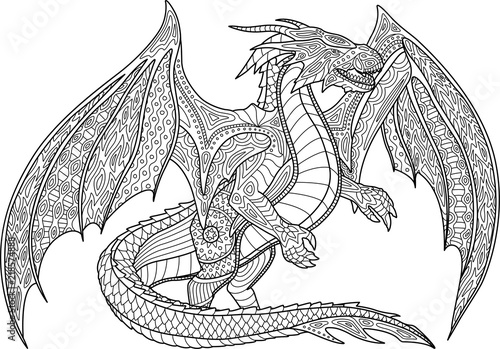 Fotografie, Obraz Coloring book page with dragon on white background