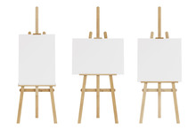 Set Of Wooden Easels With Empt...