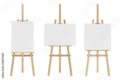Photo  Set of wooden easels with empty mockup