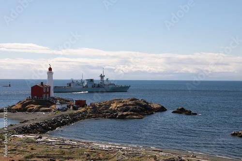 Photo  Fisgard Lighthouse National Historic Site along the Pacific coast near Victoria,