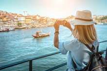 Happy Blonde Woman - Tourist Shot On Her Smartphone Camera In Porto Portugal