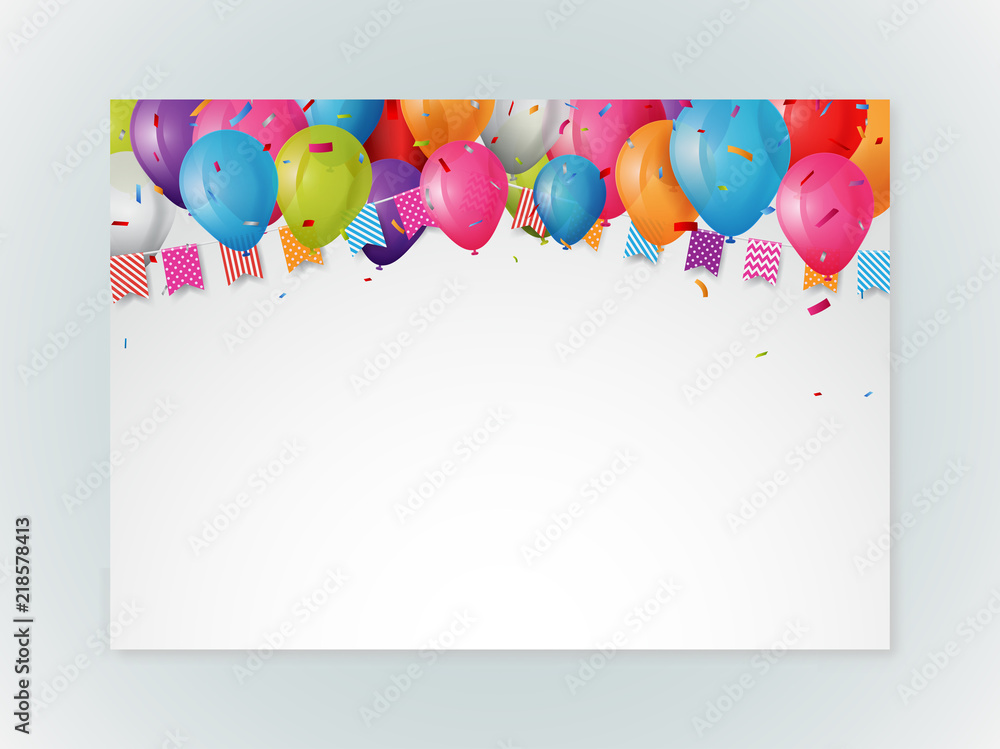 Happy Birthday Greeting Card Design With Confetti Foto Poster Wandbilder Bei EuroPosters