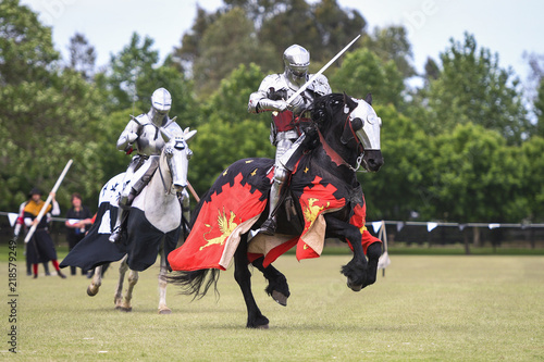 Cuadros en Lienzo Two medieval knights confront during jousting tournament