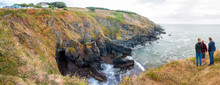 Landscape Panorama National Trust Lizard Point / Lizard Head At The Lizard Peninsula West Cornwall South England UK