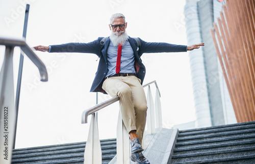 Senior hipster with stylish beard portraits Fototapete