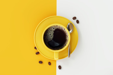 Fototapeta Do kawiarni Top view of coffee cup on yellow and white background.