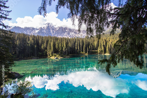 Karersee, lake in the Dolomites in South Tyrol, Italy