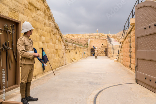 Fortification Kalkara, Malta. The show at Fort Rinella (1879-1884). Soldiers of the Victorian era show signal transmission