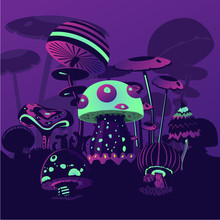 Fantasy Background With Neon Mushrooms. Magic Landscape. Computer Game Concept.