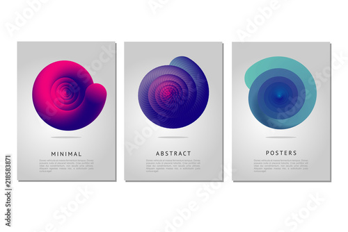 Obraz Color vortex. Minimalistic poster design template with spiral shell. Abstract form with curl lines and vibrant color gradient. - fototapety do salonu
