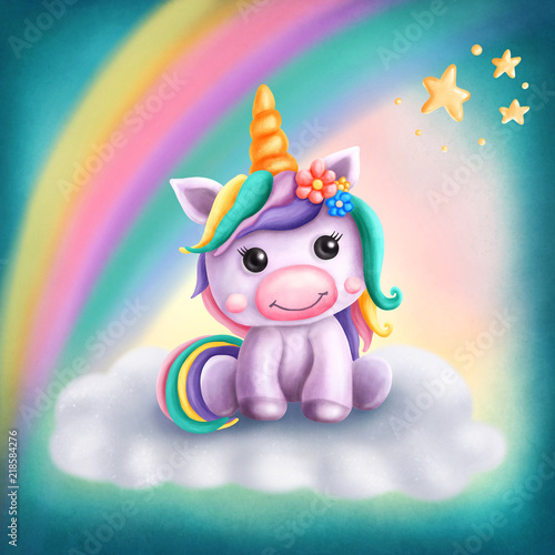 Obraz na plátně Little cute unicorn