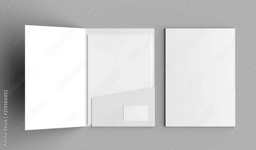 Fototapeta A4 size single pocket reinforced folder with business card mock up isolated on gray background. 3D illustration